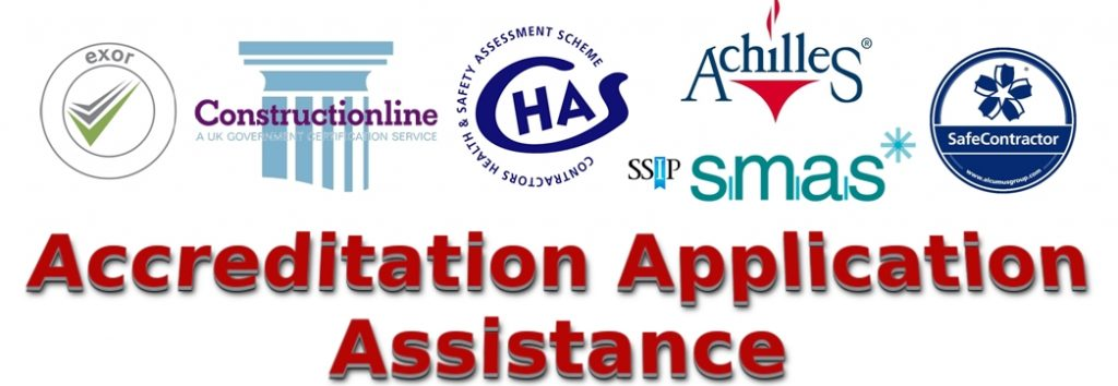 EXOR, CHAS, SafeContractor, Constructionline, SMAS, Delta E-Sourcing and Achilles SSIP accreditation